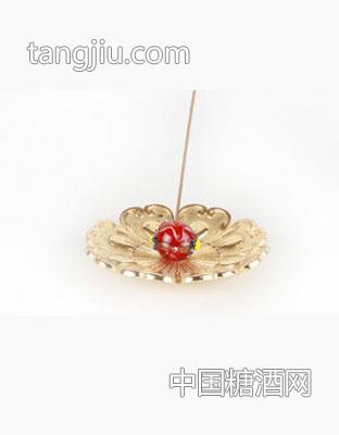 五彩琉璃铜香插(玛瑙红)