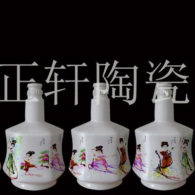 供应粉彩美人六方瓶