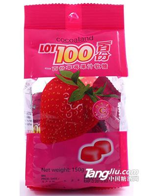 马来西亚 一百份草莓果汁软糖 150g