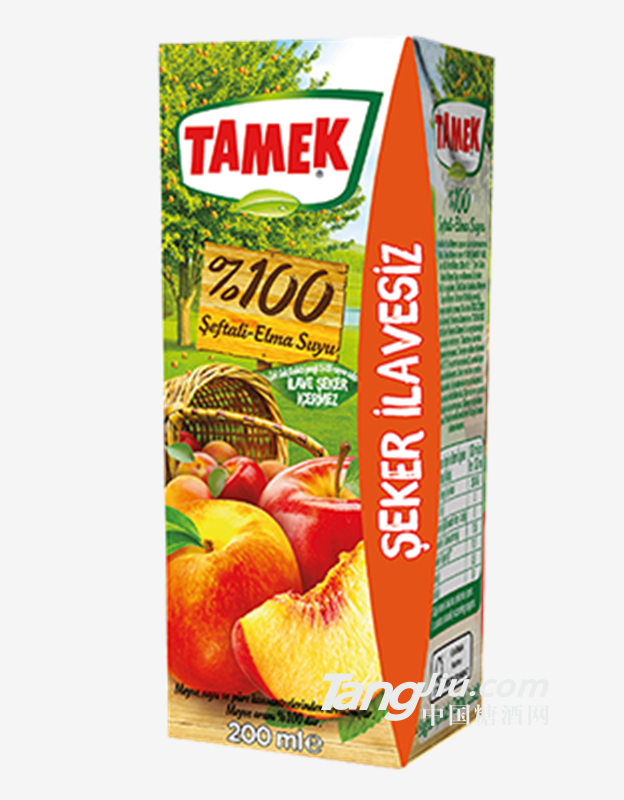 荅梅肯TAMEK苹果桃子混合果汁100%