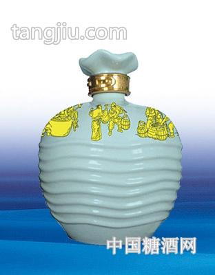 陶瓷酒坛波浪瓶(银青色)2500ml
