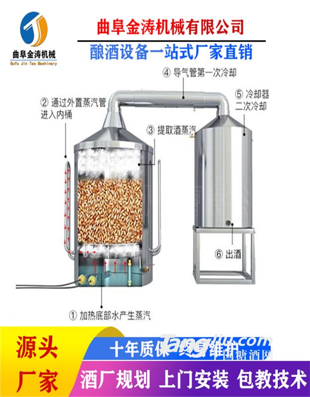 扬州500斤液态酿酒设备 家用蒸汽加热酿酒器 白酒烤酒设备可定制