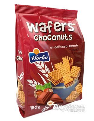 坚果巧克力夹心华夫饼干-180g